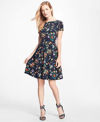 Floral Silk Crepe Fit-and-Flare Dress $198 thestylecure.com