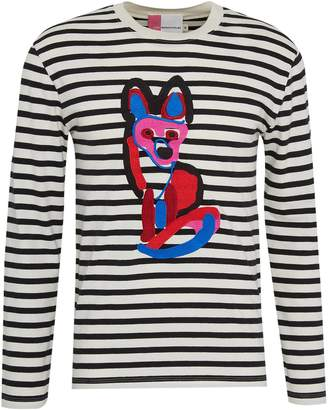 MAISON KITSUNÉ ACIDE fox embroidered stripe unisex long sleeve T-shirt