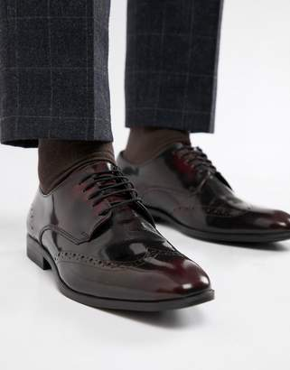 Asos Design Brogue Shoes In Burgundy Leather