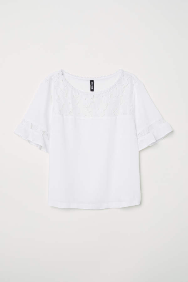 Viscose Blouse with Lace - White - Women