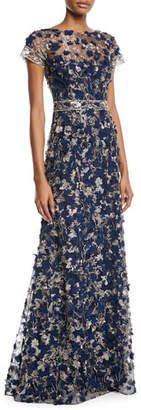 David Meister Short-Sleeve 3D Floral Embroidered Gown