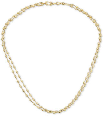 """Italian Gold Two-Tone Beaded Double Strand 18"""" Chain Necklace in 14k Gold"""