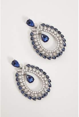Quiz Navy Jewel Diamante Earrings