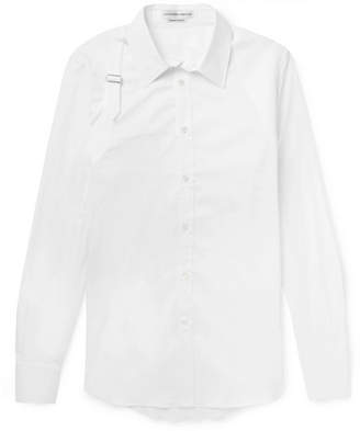 Alexander McQueen Slim-Fit Harness-Detailed Piqué-Panelled Stretch Cotton-Blend Poplin Shirt