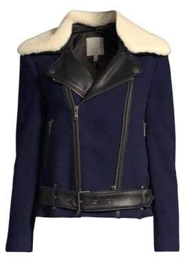 Joie Fayana Mixed Media Faux Fur Collar Moto Jacket