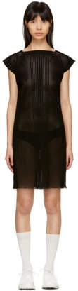 Issey Miyake Black Short Striped Dress