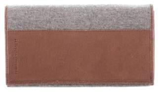 Brunello Cucinelli Leather-Trim Felt Wallet Grey Leather-Trim Felt Wallet