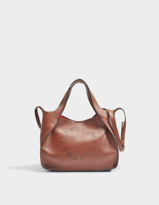 Stella McCartney Alter Nappa Crossbody Stella Logo Bag in Pecan Eco Fabric
