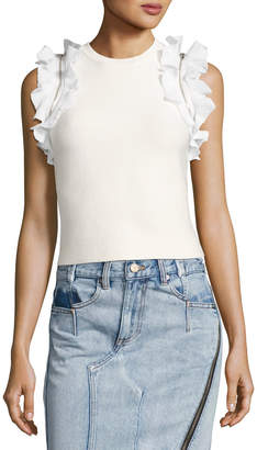 3.1 Phillip Lim Sleeveless Fitted Cotton Top w/ Ruffled Trim