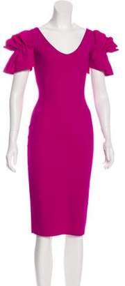 Chiara Boni Knee-Length Sheath Dress Magenta Knee-Length Sheath Dress