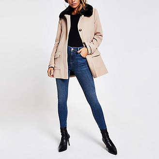 River Island Beige faux fur collar swing coat