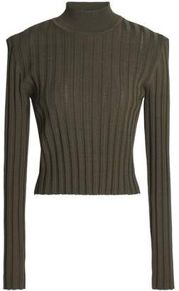 McQ Cutout Ribbed-Knit Top