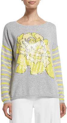Joan Vass Rose/Striped Sweater, Plus Size