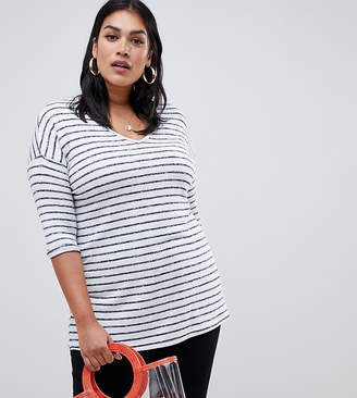 New Look Plus Curve stripe v neck top in white pattern