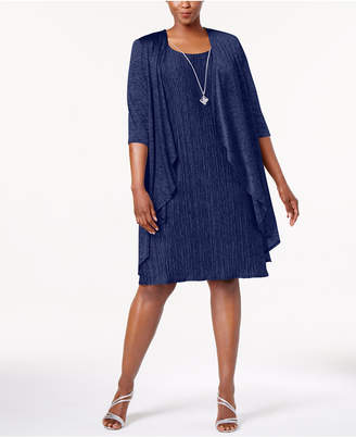 R & M Richards Plus Size Pleated Dress and Draped Jacket