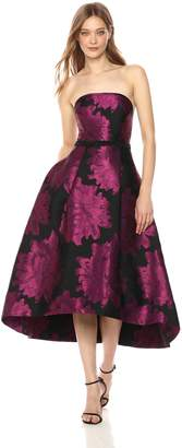 Carmen Marc Valvo Women's Strapless Metallic Taffeta Hi Lo Ball Gown, Fuchsia/Black