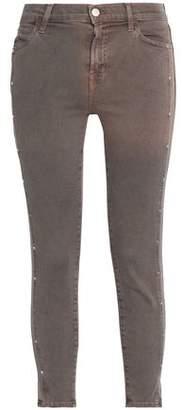 J Brand Studded Mid-Rise Cotton-Blend Skinny Pants