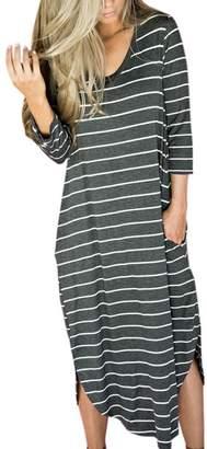 GONKOMA Women's Striped Loose Long Dress Beach Casual T Shirt Dress (S, )