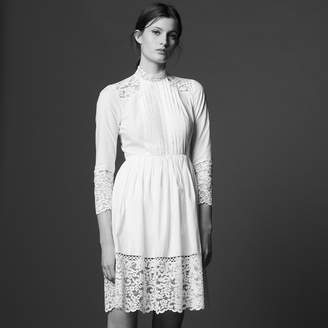Sandro Cotton dress with lace insets