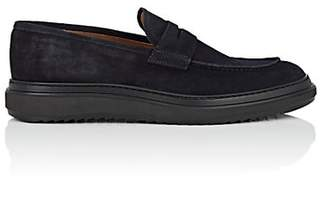 Barneys New York MEN'S WEDGE-SOLE SUEDE PENNY LOAFERS - NAVY SIZE 7 M