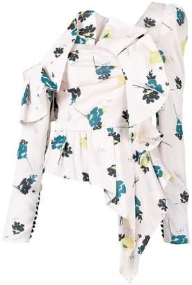 Self-Portrait asymetric ruffled blouse