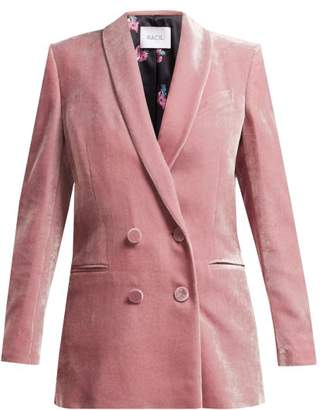 Racil - Gloria Double Breasted Velvet Blazer - Womens - Light Pink
