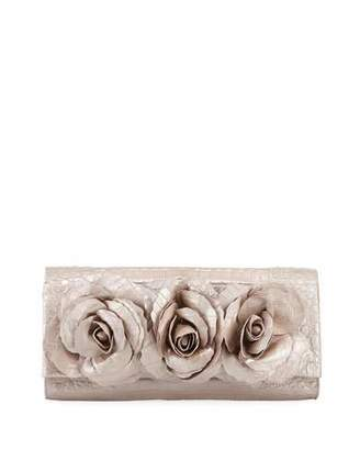 Nancy Gonzalez Rose Crocodile Flap Clutch Bag