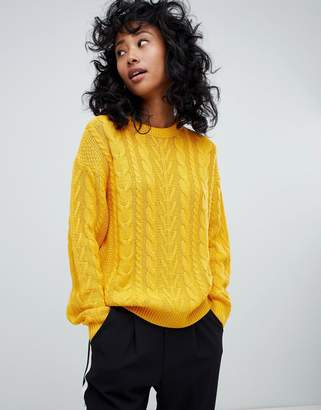 Pull&Bear cable knitted sweater in yellow