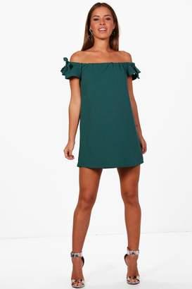 boohoo Petite Off The Shoulder Tie Sleeve Dress