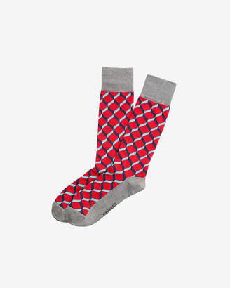 Express Solid Heel Geometric Dress Socks