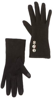 Roffe Accessories Plaid Button Touch Gloves