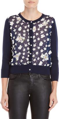 Karl Lagerfeld Navy Floral Applique Cardigan