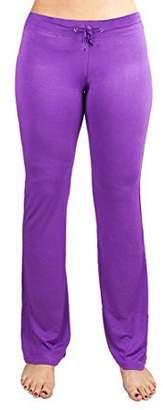 Crown Sporting Goods Soft & Comfy Yoga Pants, 95% Cotton/5% Spandex, Purple L