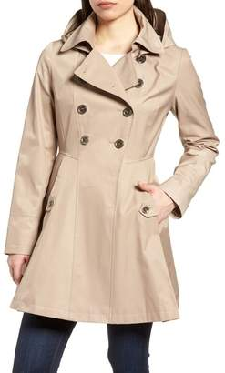 Via Spiga Hooded Double Breasted Trench Coat