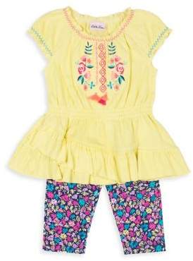 Little Lass Little Girl's Two Piece Ruffle Top and Printed Botton Set