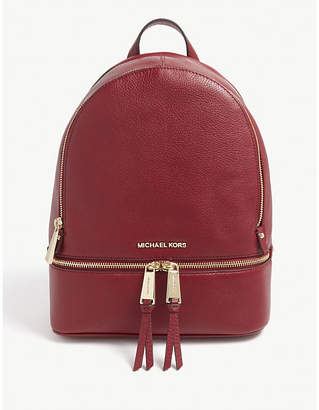 MICHAEL Michael Kors Michael Kors Red Rhea Pebbled Leather Backpack