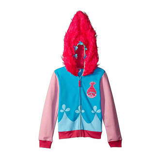 Asstd National Brand Trolls Girls Princess Poppy Costume Hoodie with Printed Applique Patch and Faux Fur Hood