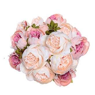 2 Pack Artificial Peony Wedding Flower Bush Bouquet - Artiflr Vintage Peony Silk Flowers for Home Kitchen Wreath Wedding Centerpiece Decor