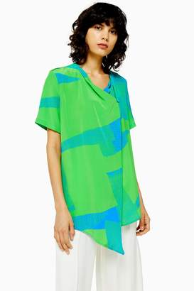 Topshop Womens **Printed Silk Tunic Top By Green