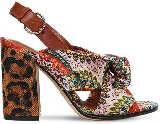 Etro 95MM PAISLEY SATIN & RAFFIA HEEL SANDALS
