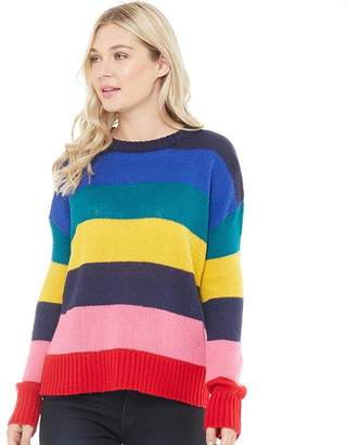 Board Angels Womens Striped Crew Neck Sweater Multi