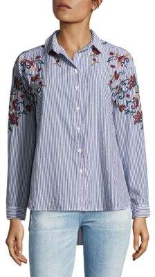 Hi-Lo Embroidered Cotton Button-Down Shirt