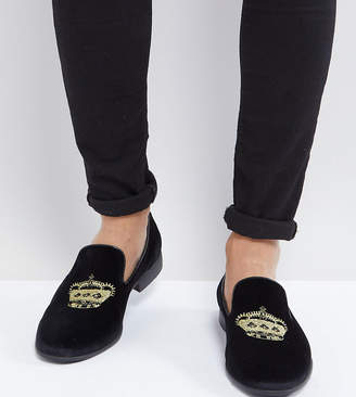 Asos DESIGN vegan friendly loafers in black velvet with crown embroidery