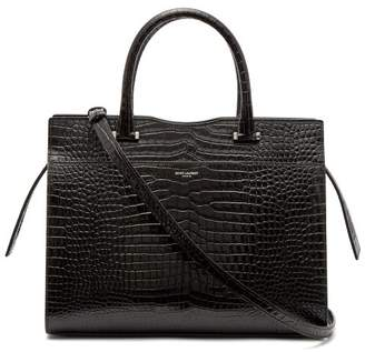Saint Laurent Uptown Crocodile Effect Leather Bag - Womens - Black