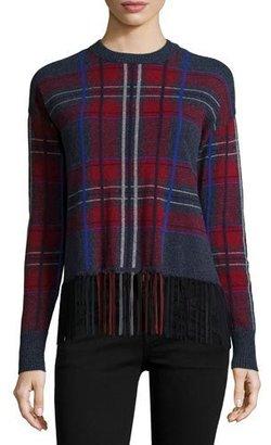 Autumn Cashmere Cashmere Plaid Crewneck w/ Suede Fringe Hem $429 thestylecure.com