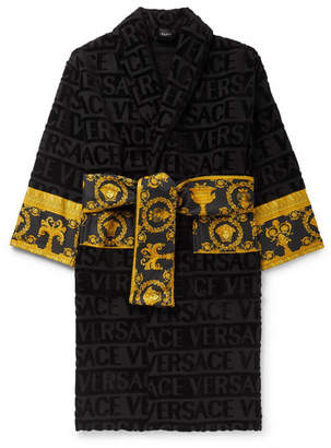 Versace Poplin-Panelled Logo-Jacquard Cotton-Terry Robe