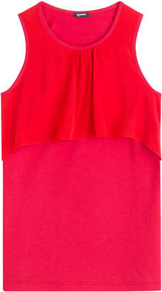 Jil Sander Navy Sleeveless Top with Silk