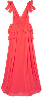 Bow-embellished Ruffled Cotton-voile Gown - Coral