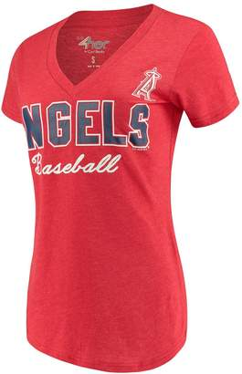 G Iii Women's G-III 4Her by Carl Banks Red Los Angeles Angels Home Run V-Neck T-Shirt
