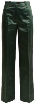 Acne Studios Tiffan Chinz Wide Leg Cotton Blend Satin Trousers - Womens - Dark Green